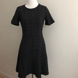 Ann Taylor Black & White Fit and Flare Knit Dress